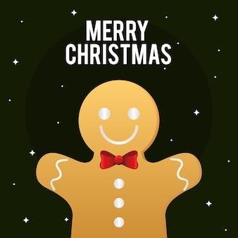 Vrolijk kerstfeest peperkoek ontwerp, winterseizoen en decoratiethema