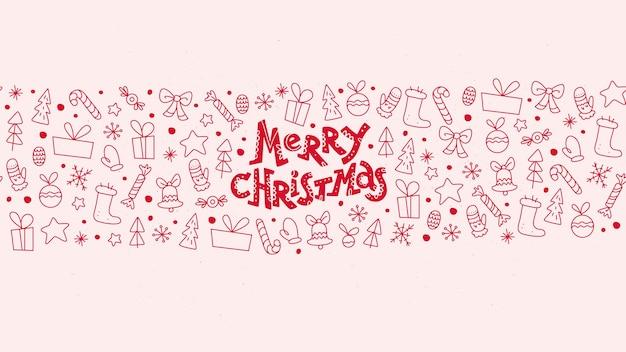 Vrolijk kerstfeest. platte naadloze kerstcadeautjes en spullendecoratie met lijntekeningen