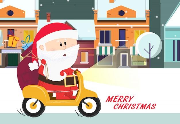 Vrolijk kerstfeest poster. cartoon santa claus paardrijden fiets
