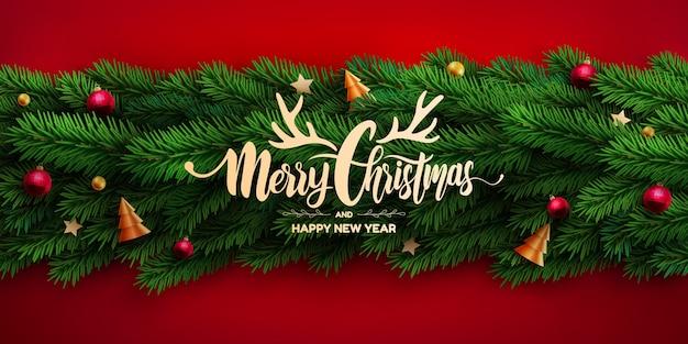 Vrolijk kerstfeest poster of banner