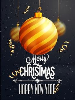Vrolijk kerstfeest poster, spandoek of flyer ontwerp