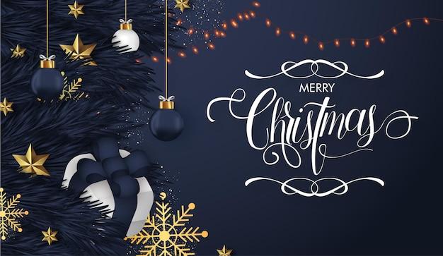 Vrolijk kerstfeest realistische achtergrond met decoratieve kerstbelettering