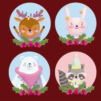 Vrolijk kerstfeest, rendier konijn beer en wasbeer hulst bes ronde pictogrammen illustratie