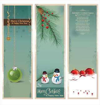 Vrolijk kerstfeest retro banner