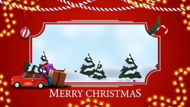 Vrolijk kerstfeest, rode ansichtkaart met winter cartoon landschap