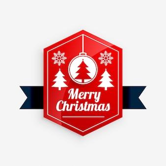 Vrolijk kerstfeest rode labelontwerp