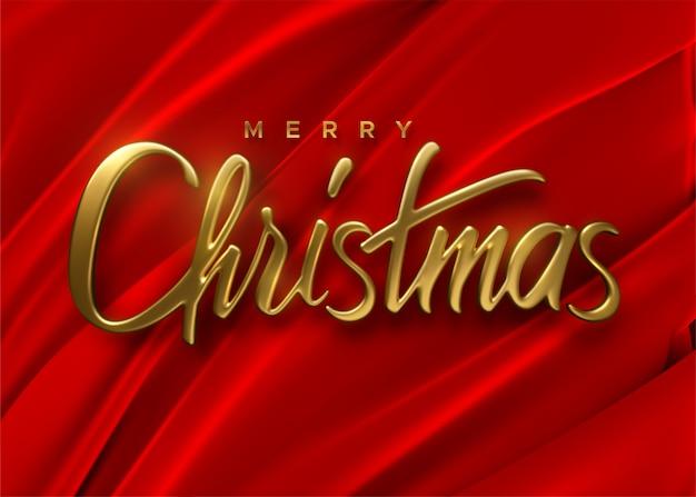 Vrolijk kerstfeest. rode zijdeachtige stoffen achtergrond met gouden parels.