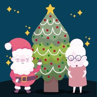 Vrolijk kerstfeest, santa met mevrouw claus en boom decoratie illustratie