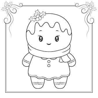 Vrolijk kerstfeest schattig gemberkoekje tekening schets met sjaal om in te kleuren