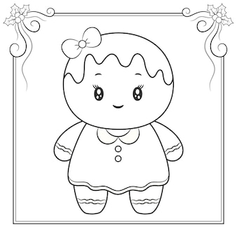 Vrolijk kerstfeest schattig gemberkoekje tekening schets om in te kleuren
