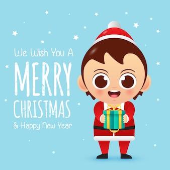 Vrolijk kerstfeest schattig karakter jongen brengt een geschenk
