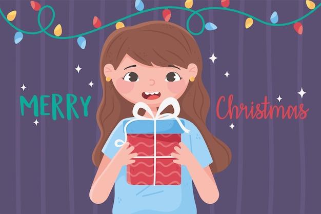 Vrolijk kerstfeest schattig meisje met geschenkdoos en lichtendecoratie illustratie
