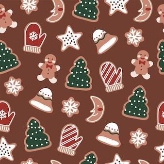 Vrolijk kerstfeest, schattig peperkoekmannetje, sterkoekjes en koekjes naadloos patroon
