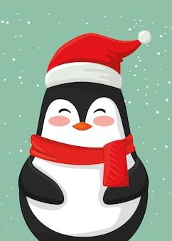 Vrolijk kerstfeest schattig pinguïn karakter