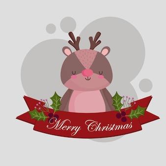 Vrolijk kerstfeest, schattig rendier dierlijk lint holly berry kaart illustratie