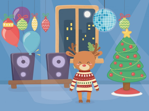 Vrolijk kerstfeest schattig rendier dragen trui in het feest