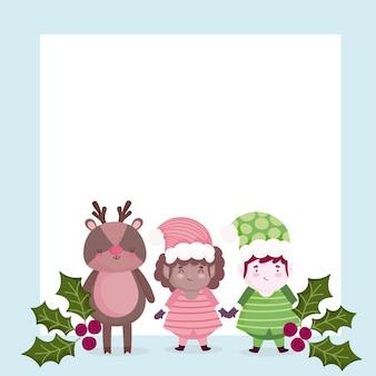 Vrolijk kerstfeest, schattig rendier en helpers holly berry illustratie