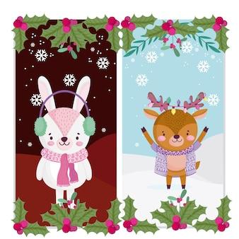Vrolijk kerstfeest, schattig rendier en konijn met sjaallichten en hulstbes