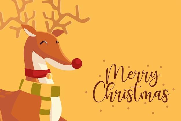 Vrolijk kerstfeest schattig rendier met sjaal wenskaart illustratie