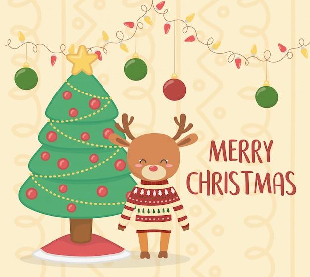Vrolijk kerstfeest schattig rendier met trui en boom decoratie