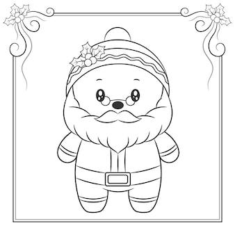 Vrolijk kerstfeest schattig santa claus tekening schets om in te kleuren