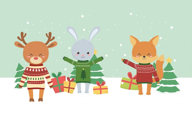 Vrolijk kerstfeest schattig vos herten konijn boom geschenken sneeuw