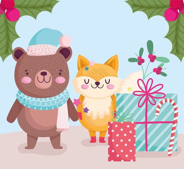 Vrolijk kerstfeest, schattige beer en vos met geschenken en snoepgoed cartoon afbeelding