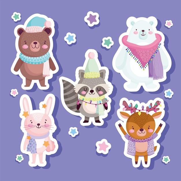 Vrolijk kerstfeest, schattige beer konijn rendier wasbeer dierlijke sterren, stickers illustratie