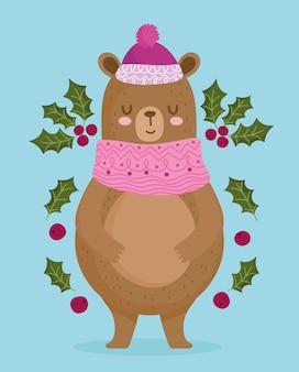 Vrolijk kerstfeest, schattige beer met hoed holly berry decoratie vectorillustratie