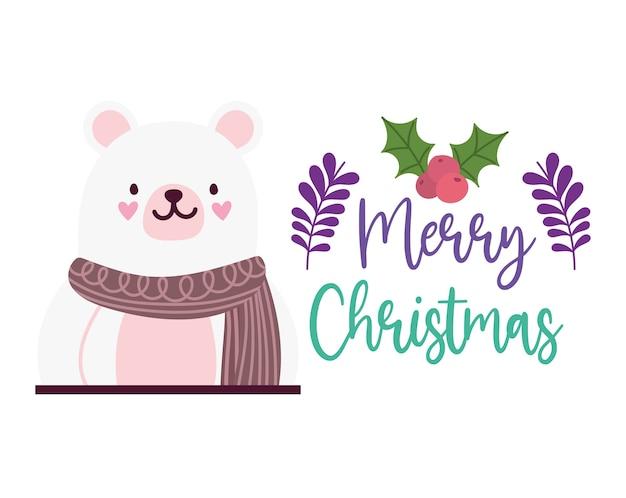Vrolijk kerstfeest, schattige beer met sjaal kaart voor groet vectorillustratie