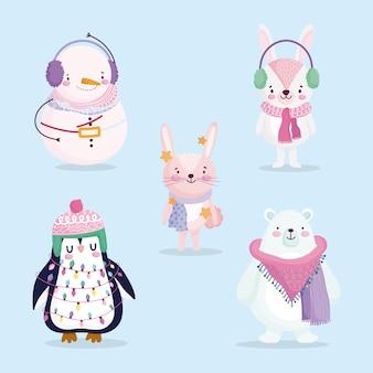 Vrolijk kerstfeest, schattige beer pinguïn sneeuwpop en konijn met hoed en sjaal cartoon afbeelding