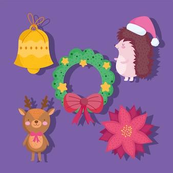 Vrolijk kerstfeest, schattige egel krans bloem herten bloem en bel cartoon pictogrammen illustratie