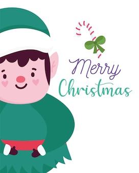 Vrolijk kerstfeest, schattige elf karakter kaart voor groet vectorillustratie