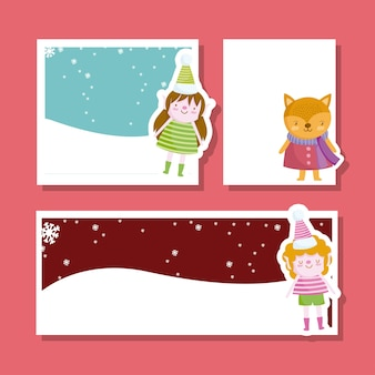 Vrolijk kerstfeest, schattige helper en engel wenskaart set illustratie