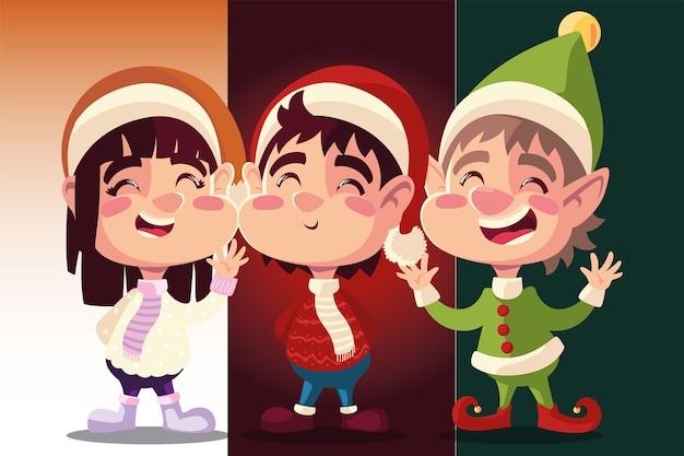 Vrolijk kerstfeest schattige helper met kleine meisje en jongen viering illustratie