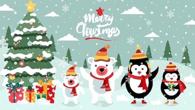 Vrolijk kerstfeest schattige illustratie