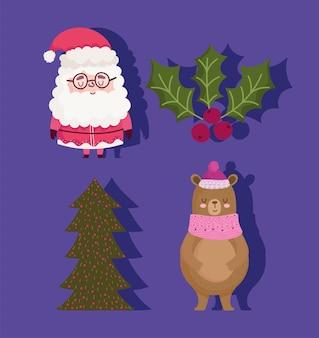 Vrolijk kerstfeest, schattige kerstman beer en holly berry pictogrammen