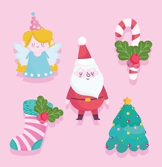 Vrolijk kerstfeest, schattige kerstman engel boom sok en candy cane cartoon afbeelding