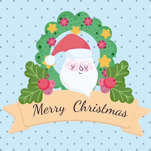 Vrolijk kerstfeest, schattige kerstman gezicht krans met ballen en lint kaart illustratie
