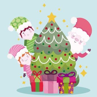 Vrolijk kerstfeest, schattige kerstman helpers boom en geschenken illustratie