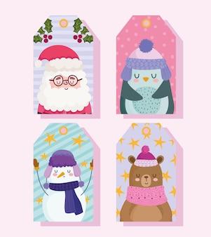 Vrolijk kerstfeest, schattige kerstman, pinguïn, beer, sneeuwpop, tag decoraties vector illustratie