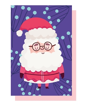 Vrolijk kerstfeest, schattige kleine kerstman met gebladerte decoratie kaart vectorillustratie