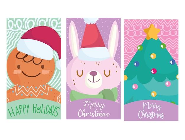 Vrolijk kerstfeest, schattige peperkoekman, konijn en boom wenskaart cartoon afbeelding