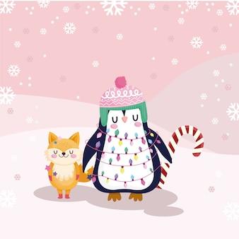 Vrolijk kerstfeest, schattige pinguïn en vos met snoepgoed illustratie