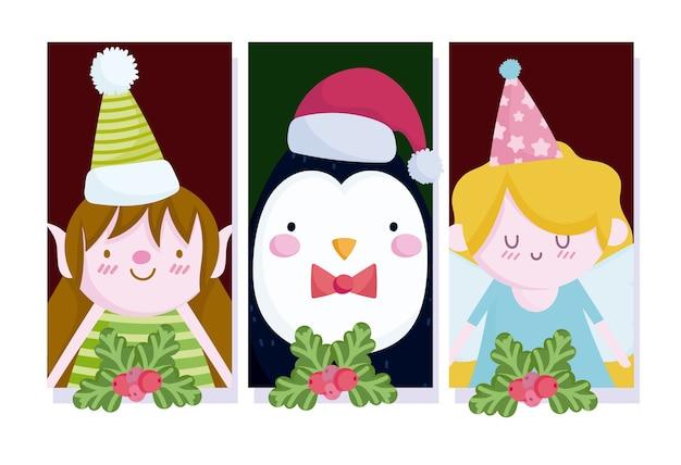 Vrolijk kerstfeest, schattige pinguïn engel en helper met holly berry banners illustratie