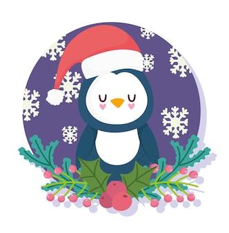Vrolijk kerstfeest, schattige pinguïn met hoed floral holly berry en sneeuwvlokken kaart vectorillustratie