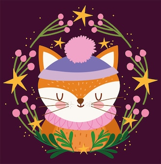 Vrolijk kerstfeest, schattige vos met hoed in krans bloemen decoratie vectorillustratie