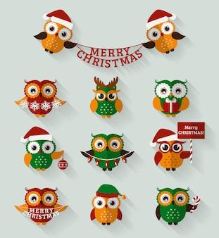 Vrolijk kerstfeest! set van schattige platte uilen voor vakantieontwerp.