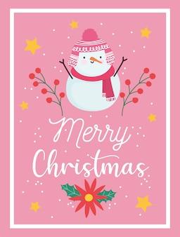 Vrolijk kerstfeest, sneeuwpop bloem poinsettia sterren, decoratie viering kaart voor groet illustratie