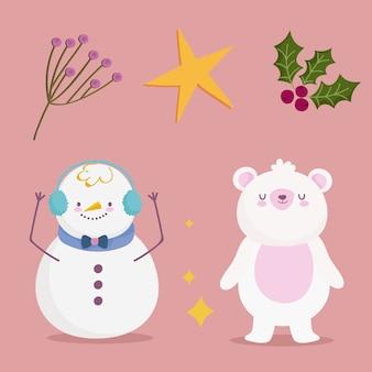 Vrolijk kerstfeest, sneeuwpop draagt hulstbes en sterpictogrammen ontwerp illustratie